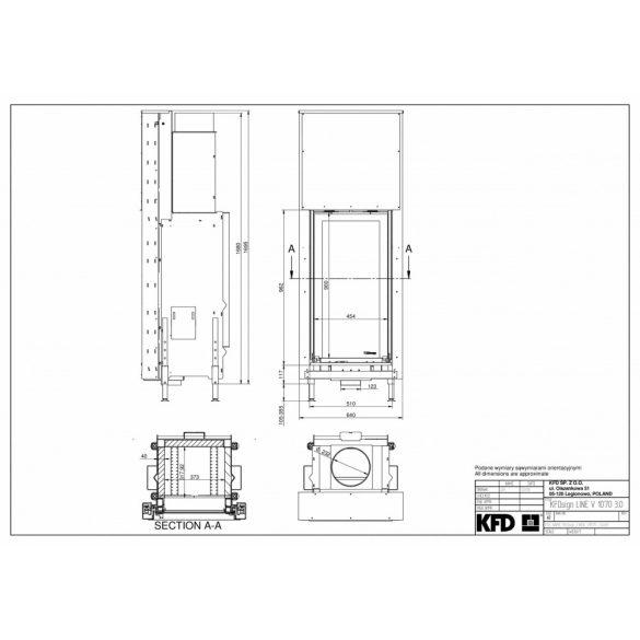 KFD Linea V 1070 3.0 10, kW modern zárt égésterű kandallóbetét