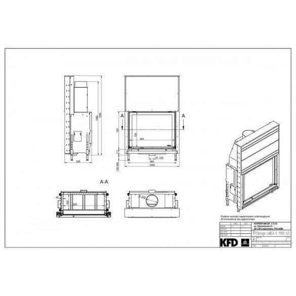 KFD Linea V 1190 3.0 16, kW modern zárt égésterű kandallóbetét