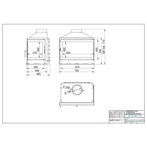 KFD ECO MAX 7 BASIC bal: 14 kW-os modern öntöttvas sarok kandallóbetét