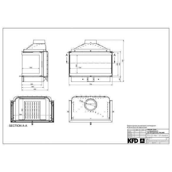 KFD ECO MAX 7 3F Standard: 11,5 kW-os modern öntöttvas panoráma kandallóbetét pillangószeleppel