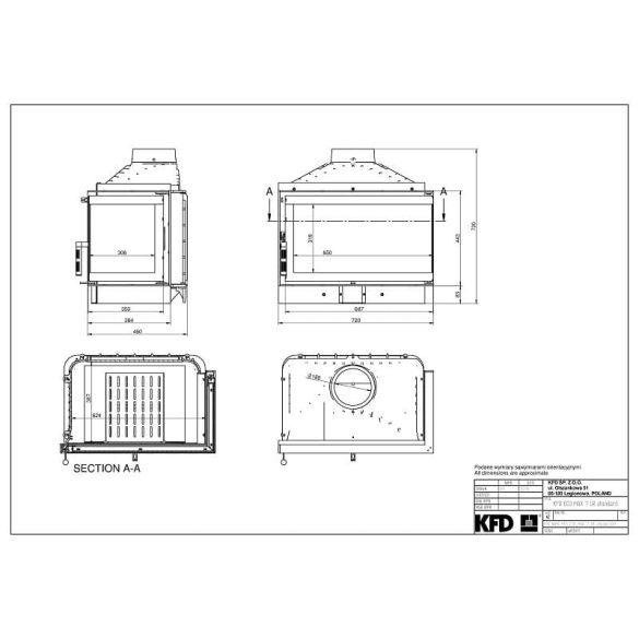 KFD ECO MAX 7 Standard jobb: 11,5 kW-os modern öntöttvas sarok kandallóbetét pillangószeleppel