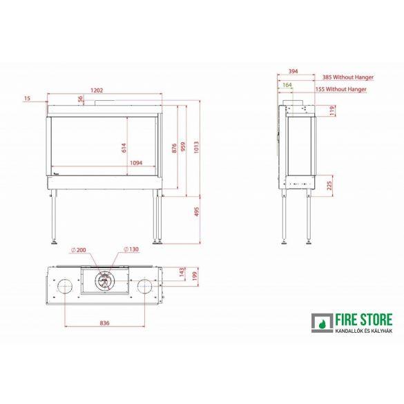 KFD CC Line 110x60, zárt égésterű, gázüzemű, kéményes sarok kandallóbetét bal