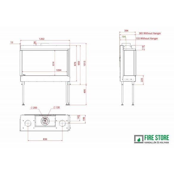 KFD CC Line 110x60, zárt égésterű, gázüzemű, kéményes sarok kandallóbetét jobb