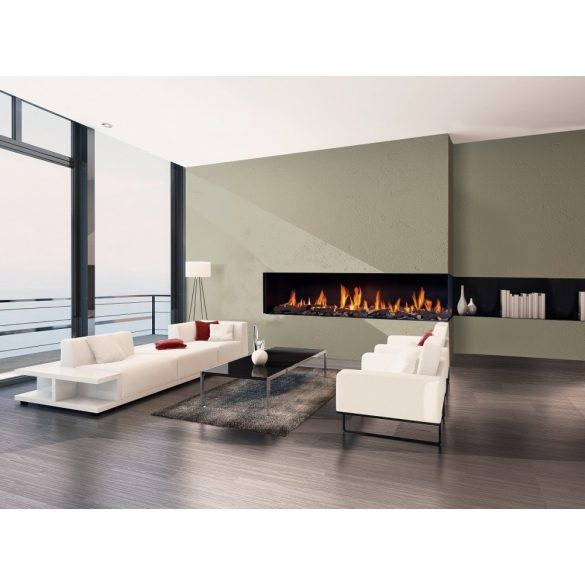 URANUS XLG, zárt égésterű, gázüzemű, kéményes sarok kandallóbetét jobb