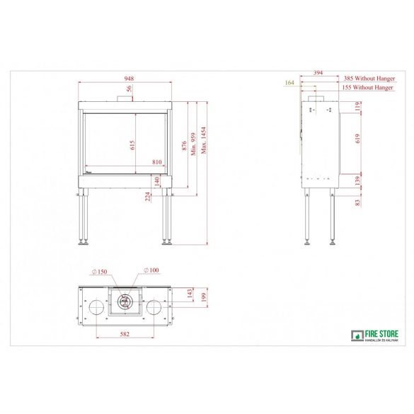 KFD A Line 80 x 60 H, zárt égésterű, gázüzemű kandallóbetét