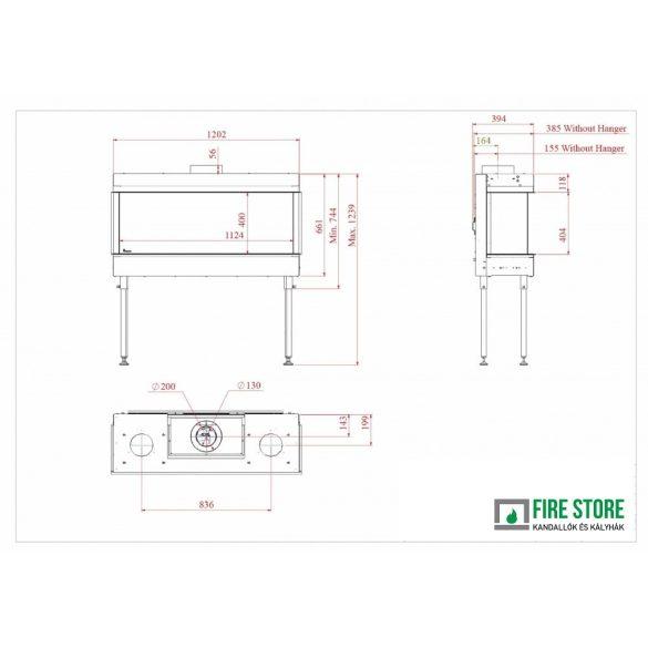 KFD 3F Line 110, zárt égésterű, gázüzemű, kéményes panoráma kandallóbetét