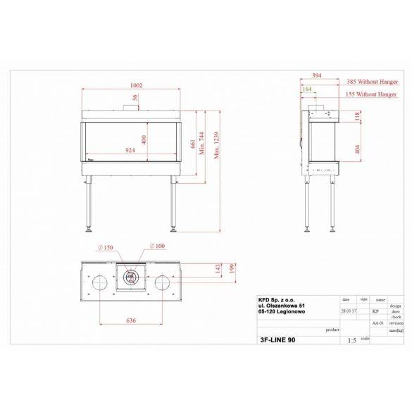 KFD 3F Line 110X60, zárt égésterű, gázüzemű, kéményes panoráma kandallóbetét