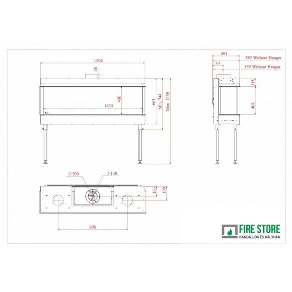 KFD 3F Line 140, zárt égésterű, gázüzemű, kéményes panoráma kandallóbetét