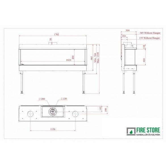 KFD 3F Line 160, zárt égésterű, gázüzemű, kéményes panoráma kandallóbetét