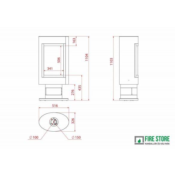 A Oval L GS, zárt égésterű, gázüzemű, kéményes mobilkandalló