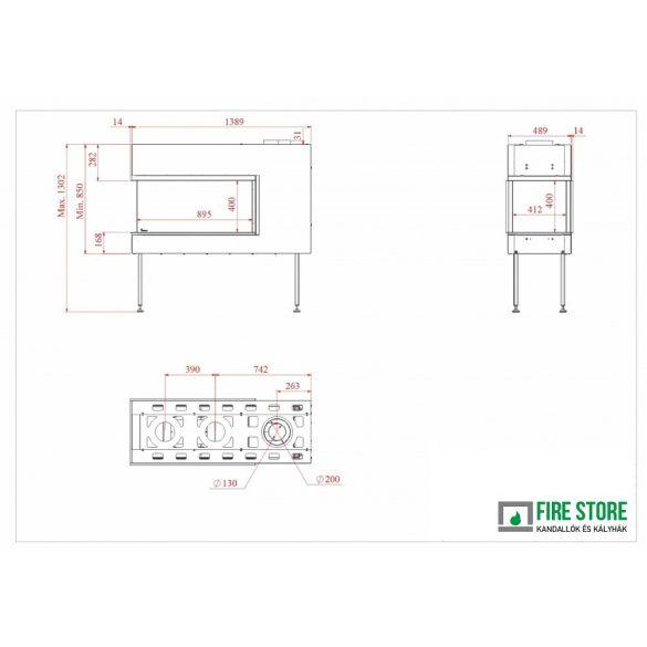 KFD 3D Line 90, zárt égésterű, gázüzemű, kéményes panoráma kandallóbetét
