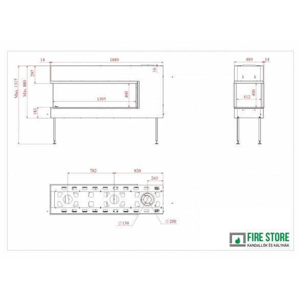 KFD 3D Line 140, zárt égésterű, gázüzemű, kéményes panoráma kandallóbetét