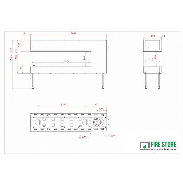 KFD 3D Line 160, zárt égésterű, gázüzemű, kéményes panoráma kandallóbetét