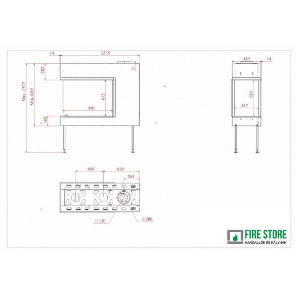 KFD 3D Line 90X60, zárt égésterű, gázüzemű, kéményes panoráma kandallóbetét