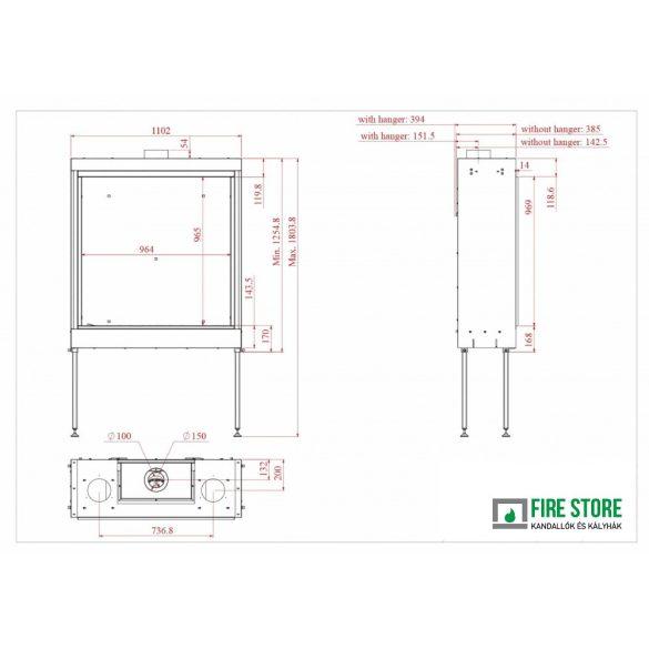 KFD X2 100, zárt égésterű, gázüzemű, kéményes kandallóbetét