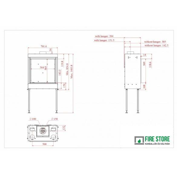 KFD X2 60, zárt égésterű, gázüzemű, kéményes kandallóbetét