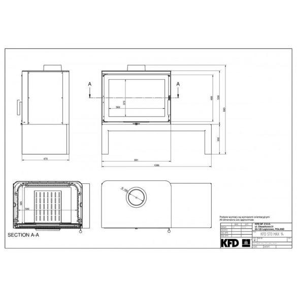 KFD STO MAX 14 kW modern öntöttvas kandallókályha paddal