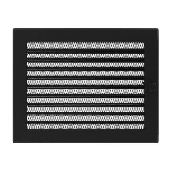 Színes 22x30 cm-es, zsalus szellőzőrács fekete