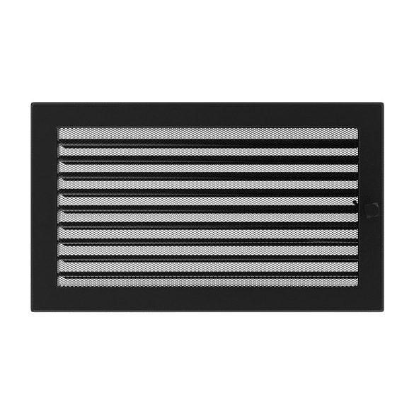 Színes 22x37 cm-es, zsalus szellőzőrács fekete