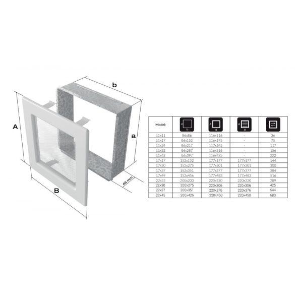 Fehér 22x45 cm-es, zsalus szellőzőrács
