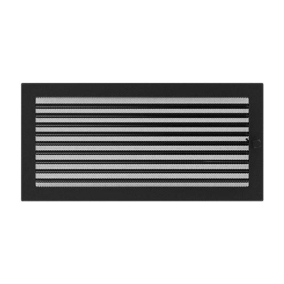 Színes 22x45 cm-es, zsalus szellőzőrács fekete