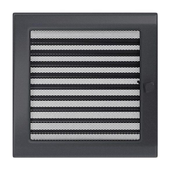 Színes 22x22 cm-es, zsalus szellőzőrács fekete