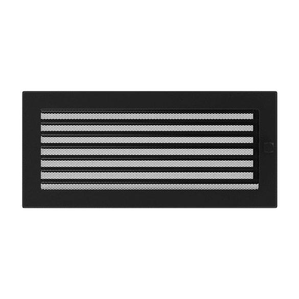 Színes 17x37 cm-es, zsalus szellőzőrács fekete
