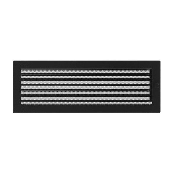 Színes 17x49 cm-es, zsalus szellőzőrács fekete