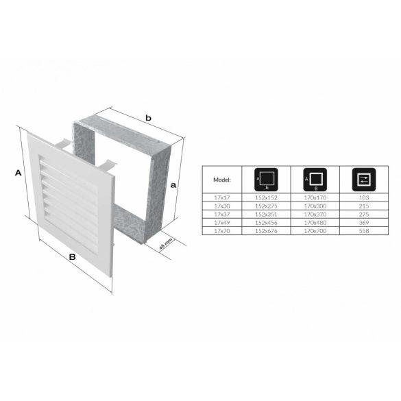 Fresh, modern 17x49 cm-es, szellőzőrács Fehér